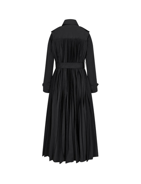 Women's REDValentino Pleated Back Trench Coat in Black. UR0CA00G5KH0NO