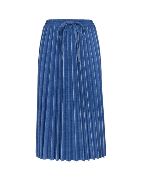 REDValentino Women's Giulio Fashion Blue Pleated Denim Skirt TR3DD01S4U0 568