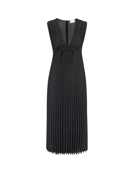 REDValentino Women's Black Pleated Georgette Dress SR3VAF6549G0NO