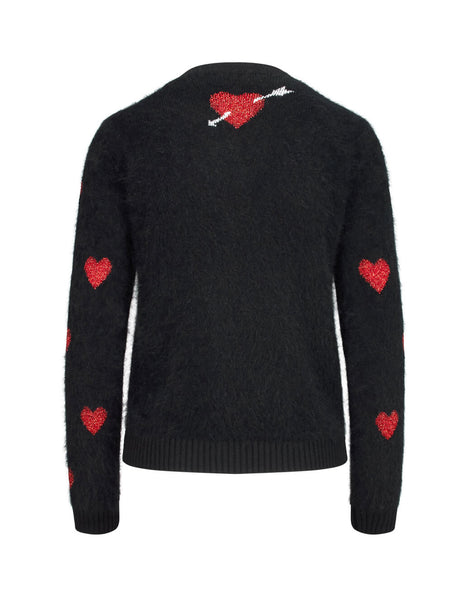 REDValentino Women's Giulio Fashion Black Red Heart Knit SR3KCB574F10NO