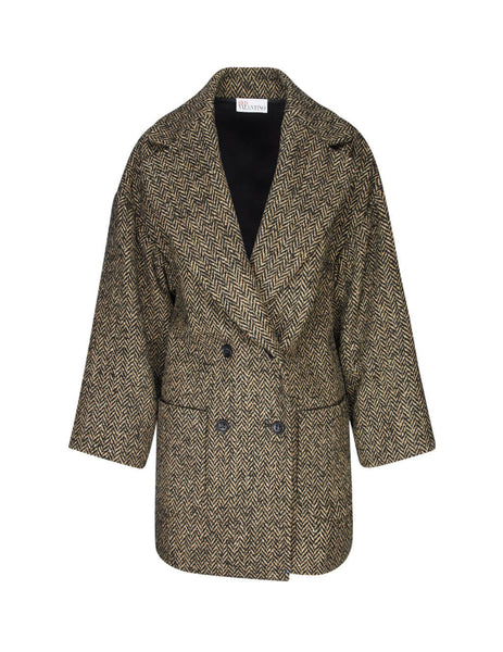 REDValentino Women's Giulio Fashion Cammello Relaxed Pea Coat SR0CAB0541B954