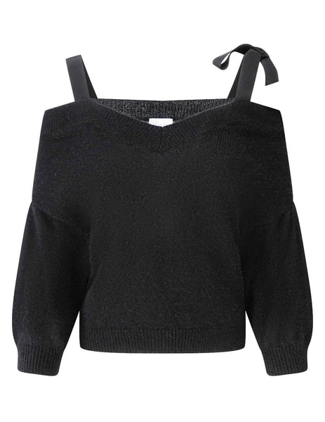 Women's Black REDValentino Ribbons Detail Jumper UR3KA00C59AA5D