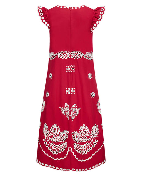 Women's REDValentino Sangallo Embroidered Fine Poplin Dress in Cherry/White - VR0VA17Q5TCB91