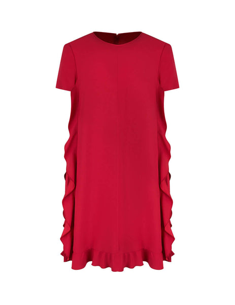 REDValentino Women's Giulio Fashion Red Side Ruffle Dress TR0VAQ650F148X
