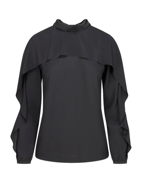 REDValentino Women's Giulio Fashion Black Silk-Crepe Top SR3ABB2023H0NO