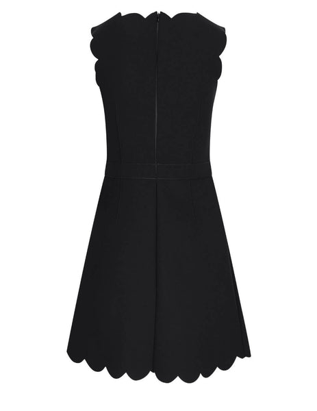 Women's Red Valentino Technical Scalloped Dress in Black - VR3VAW851FR0NO