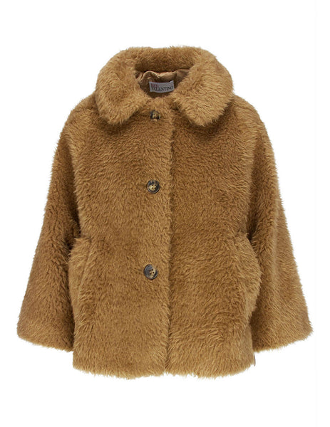 Women's REDValentino Teddy Fur Jacket in Camel Brown. UR0CJB055DE954