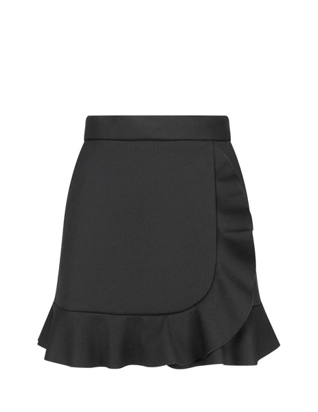 Women's Black REDValentino Tricotine Tech Skirt UR3RAE851Y10NO