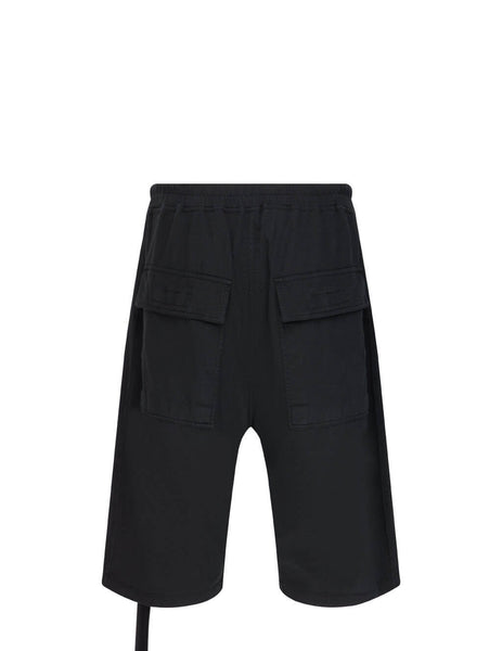 Men's Rick Owens DRKSHDW Pusher Shorts in Black - DU21S2383RN09