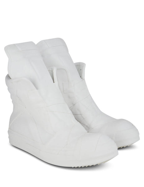 Men's Rick Owens Geobasket Sneakers in white. RU20F3874LCRUB11