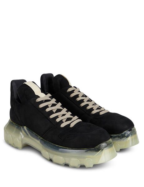 Men's Rick Owens Maximal Tractor Sneakers in Black/Transparent. RU20F3887LSD90