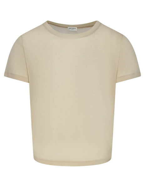 Men's Nude Saint Laurent Sheer U Neck T-Shirt 601527YBNR29505