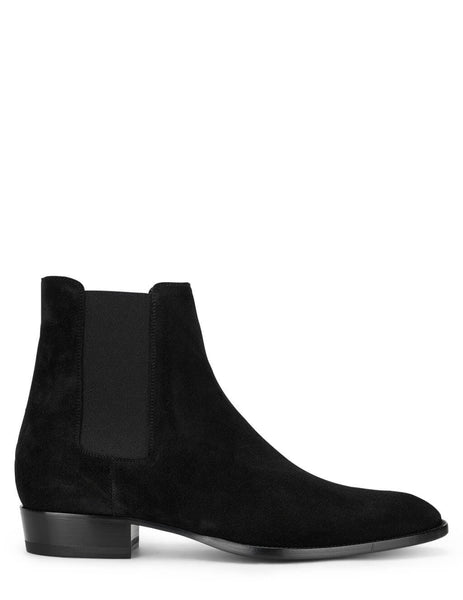 Men's Saint Laurent Suede Wyatt 30 Chelsea Boots in Black - 443208BT3001000