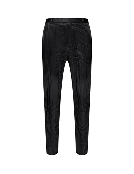 Men's Black Saint Laurent Crinkle Pleated Satin Trousers 604957Y2A311000