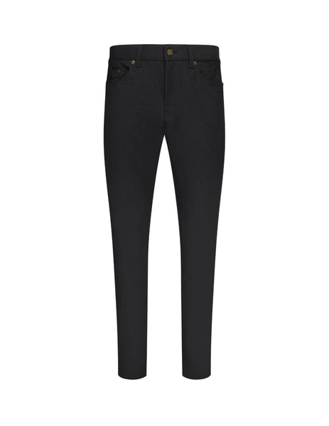 Saint Laurent Men's Black Cropped Mid-Rise Skinny Jeans in Stretch Denim 601478yo5001080