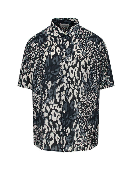 Saint Laurent Men's Giulio Fashion Black Leopard Print Shirt  601070Y1A701076