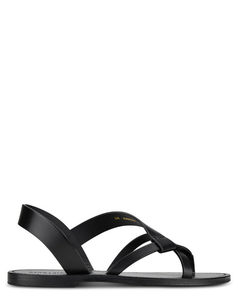 Men's Saint Laurent Smooth Leather Matt Sandals in Black - 649009DWE001000