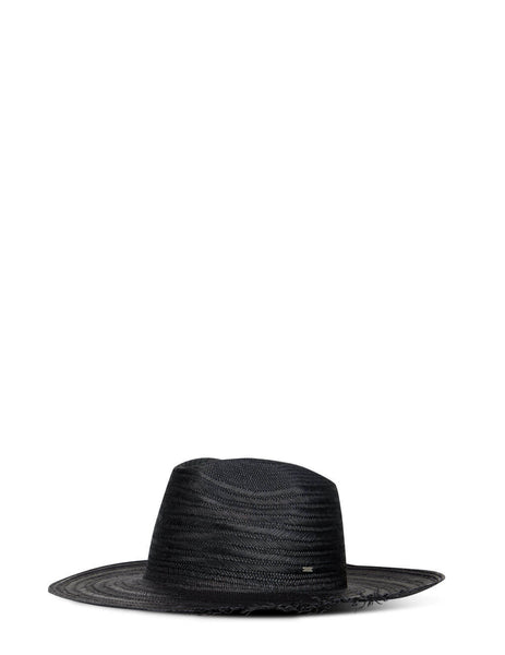 Men's Saint Laurent Straw Waikiki Hat in Black - 6525703YG811000