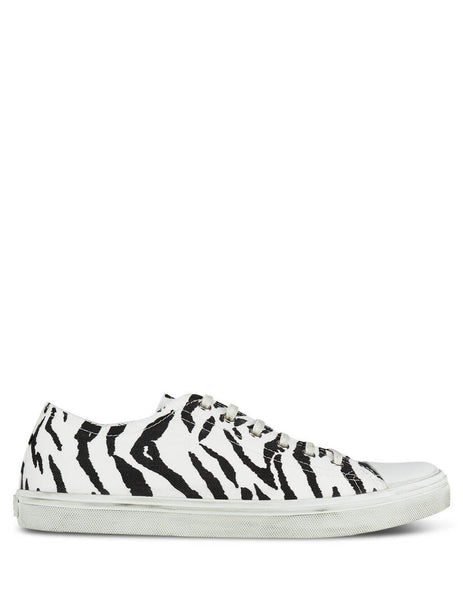 Men's Zebra-Print Saint Laurent Canvas Bedford Sneakers 6024621OD009074
