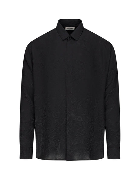 Saint Laurent Men's Giulio Fashion Black Art Deco Spiral Shirt 564172Y1A101000