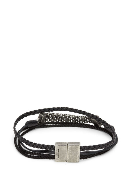 Saint Laurent Black Braided Passementerie Bracelet 6347091V64D1000