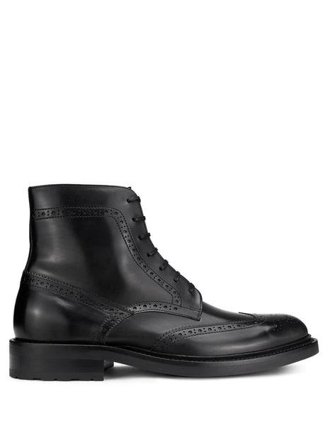 Saint Laurent Men's Giulio Fashion Black Brogue Ankle Boots 5874621G7001000