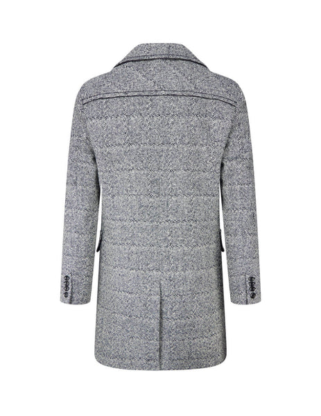 Men's Saint Laurent Caban Coat in Black Chalk. 614534Y1B111095