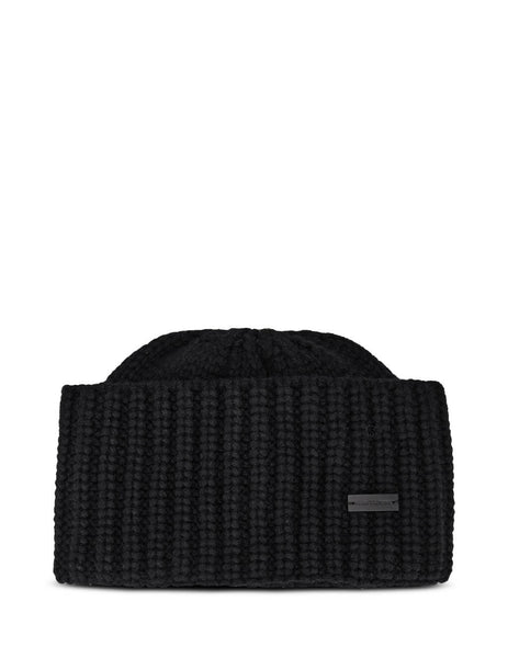 Men's Saint Laurent Cable Knit Beanie Hat in Black. 6291004Y2051000