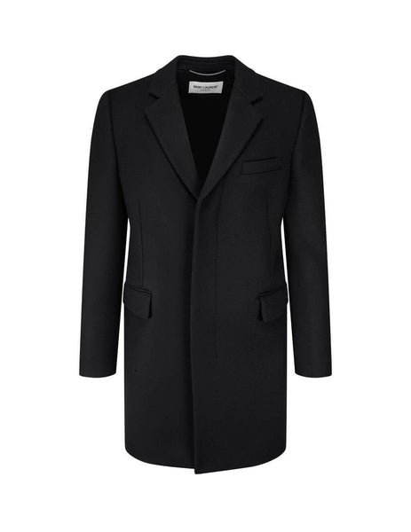 Men's Saint Laurent Chesterfield Wool Coat in Black. 631672Y177W1000