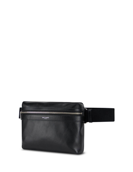 Men's Saint Laurent Leather City Camera Bag in Black. 6347170AY9F1000