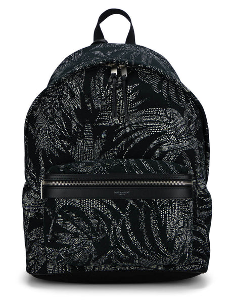 Men's Saint Laurent City Tropical Canvas Backpack in Black - 5349672NE1F1095
