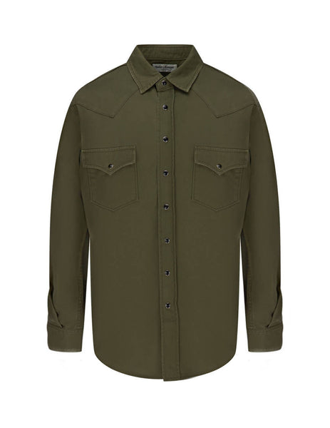Saint Laurent Men's Khaki Classic Western Shirt 629966Y596V3253