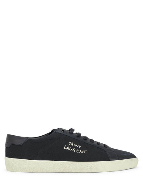 Men's Saint Laurent Court Classic SL/06 Embroidered Sneakers in Black/Black/White - 611106GUP501000