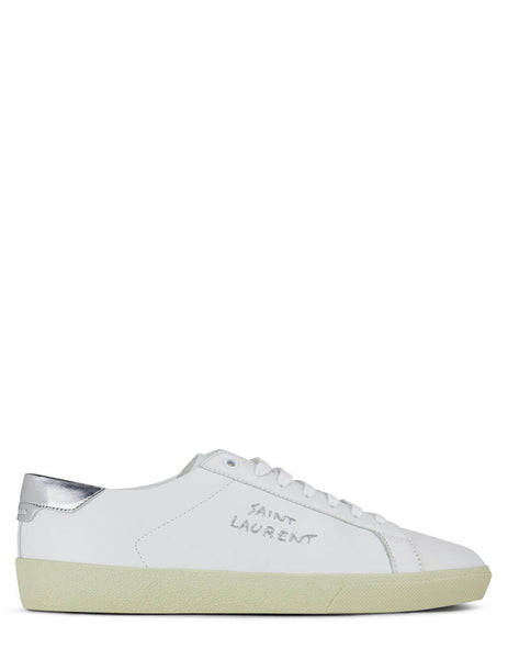 Men's Saint Laurent Court Classic SL/06 Embroidered Sneakers in White/Silver - 61135200NA09085