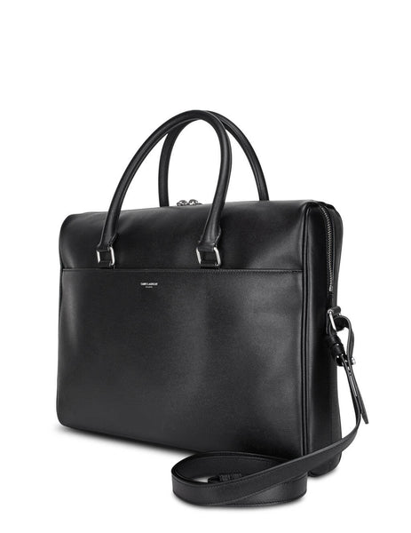 Men's Saint Laurent Duffle Leather Briefcase in Black. 625449BTY0E1000