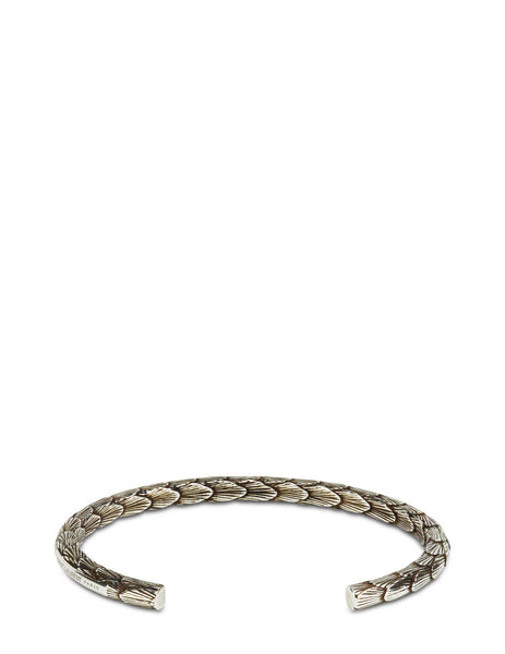 Men's Saint Laurent Feather Cuff Bracelet in Silver - 650889Y15008142
