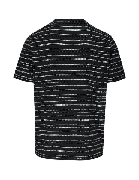 Saint Laurent Men's Giulio Fashion Black Geometric Striped T-Shirt 601544YBOP21095