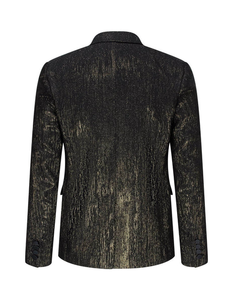 Saint Laurent Men's Giulio Fashion Black Gold Thread Jacket 603194Y811V7362