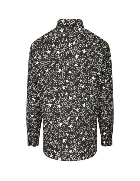 Saint Laurent Men's Giulio Fashion Black Graffiti Stars Shirt 564172Y331V1095