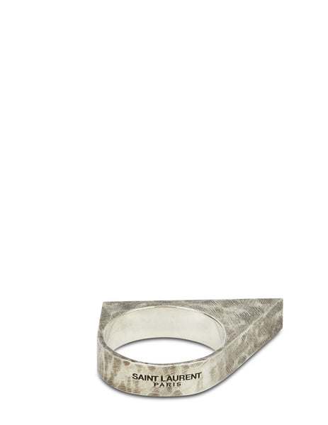 Saint Laurent Hammered Ring in Oxidized Silver 608504Y15008142