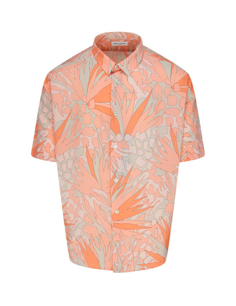 Men's Orange and Taupe Saint Laurent Jungle Flower Shirt 601070Y2A276566