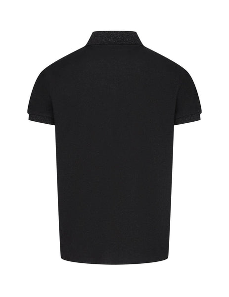Saint Laurent Men's Black Lamé Piqué Polo Shirt 632704YBWE21001