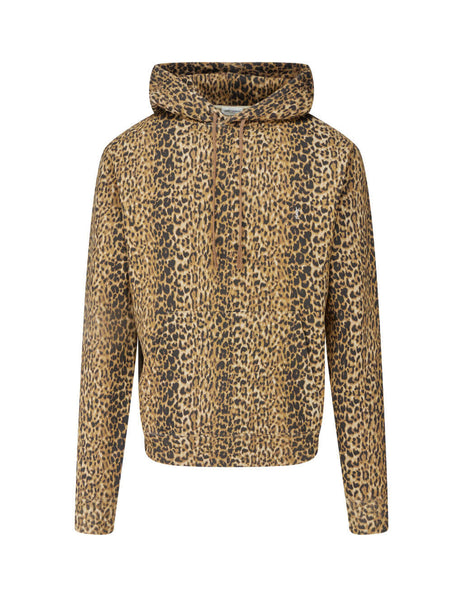 Saint Laurent Men's Brown Leopard Hoodie 631812YBTX25725