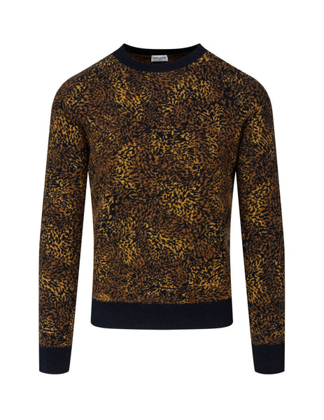 Saint Laurent Men's Brown Leopard Jacquard Jumper 632002YARB21096