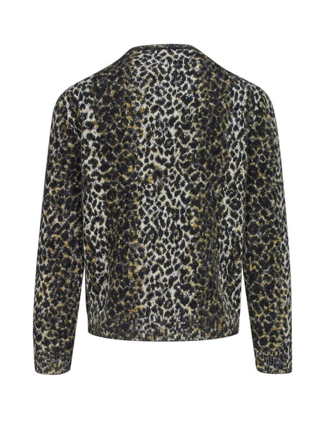 Saint Laurent Men's Giulio Fashion Beige Leopard Jacquard Knit 584946YAHA29794