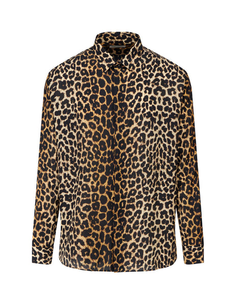 Saint Laurent Men's Brown Leopard Print Shirt 564172Y2B099665