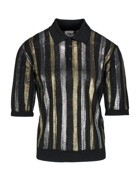 Saint Laurent Men's Black Metallic Stripe Polo Shirt 602945YAKF21040