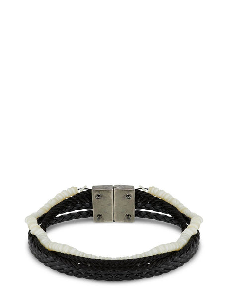 Men's Saint Laurent Multi-Strand Bracelet in Black - 649762G259D1020