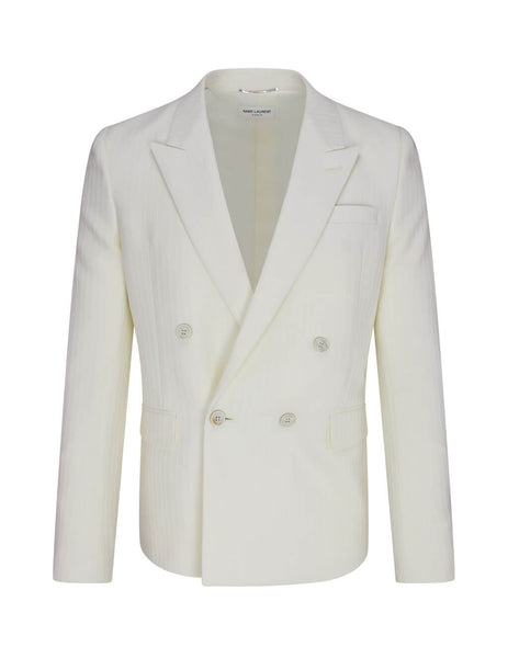 Men's Chalk White Saint Laurent Pinstripe Jacket 598083Y1A579601
