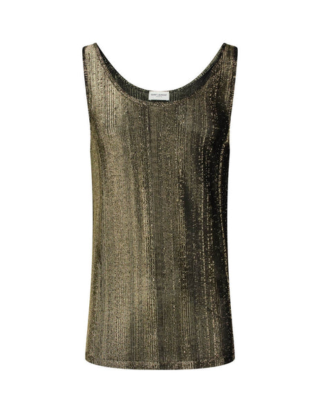 Men's Black and Gold Saint Laurent Ribbed Lamé Tank 605241YBOC21039